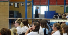 Legs on the Wall Artistic Director Patrick Nolan speaking to students at Cowra High School on Tuesday April 9. Image: Cowra Guardian.